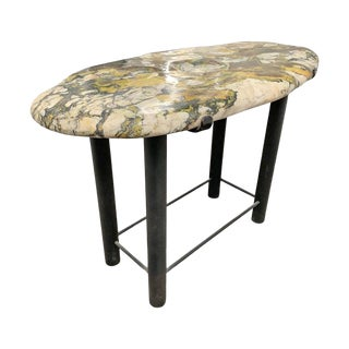 Marble Stone Top Side Table For Sale