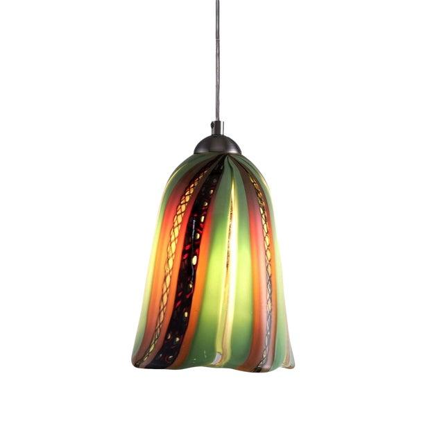 Oggetti Luce Art Deco Venetian Mouth Blown Glass Pendant Light For Sale