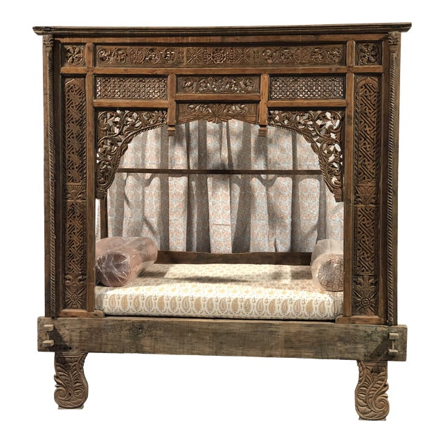 Antique Balinese Indian Boho Chic Teakwood Canopy Daybed in Elizabeth Eakins Fabrics For Sale