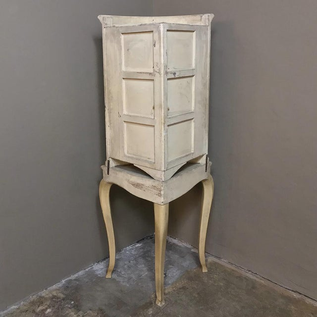 Antique Italian Baroque Painted Corner Cabinet For Sale - Image 11 of 12