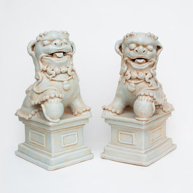 20th Century Large Chinese Celadon Foo Lions - a Pair For Sale - Image 13 of 13