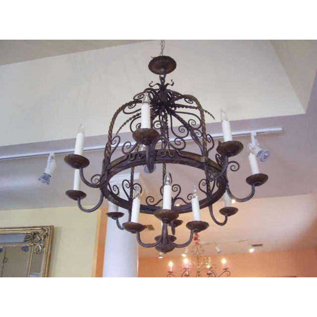 Unusual Provincial Wrought Iron 12-Light Chandelier For Sale In New Orleans - Image 6 of 9