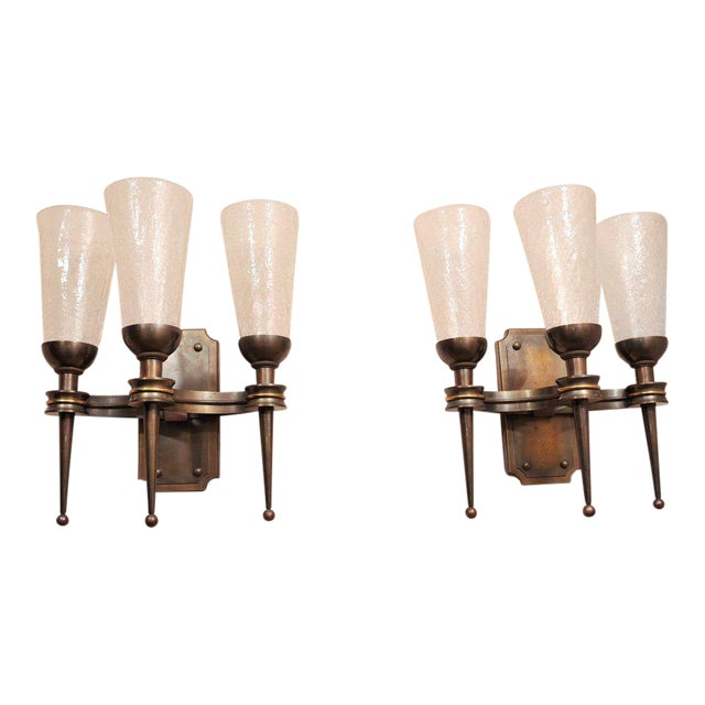 Pair of Monumental 1940s Wall Sconces For Sale