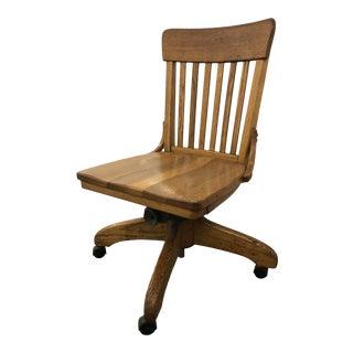 Vintage Oak Swivel Bank Chair For Sale
