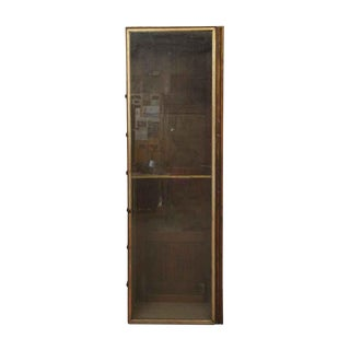 Tall Wood Built-In Cabinet With Glass Front For Sale