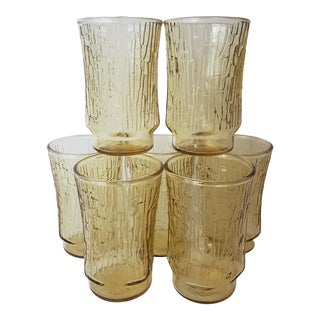 Anchor Hocking Pagoda Juice Tumblers in Honey Crackle Glass - Set of 7 For Sale