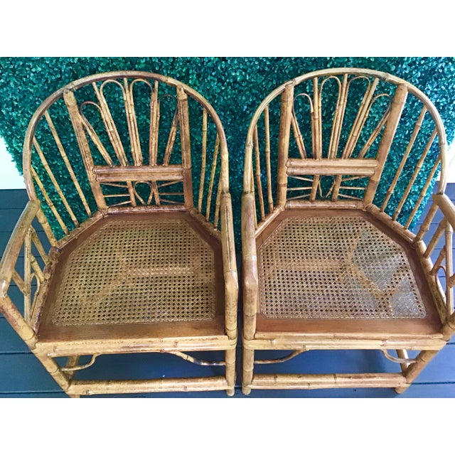 Wood 1980s Vintage Brighton Bamboo ChairsA Pair For Sale - Image 7 of 13