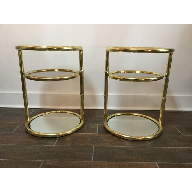 1970's Swivel Brass Side Tables - Image 4 of 11