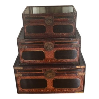 Antique Chinoiserie Trunks - Set of 3 For Sale
