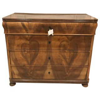 1840's Biedermeier Chest in Cherry With Tulip Top and Inlay Escutcheons For Sale