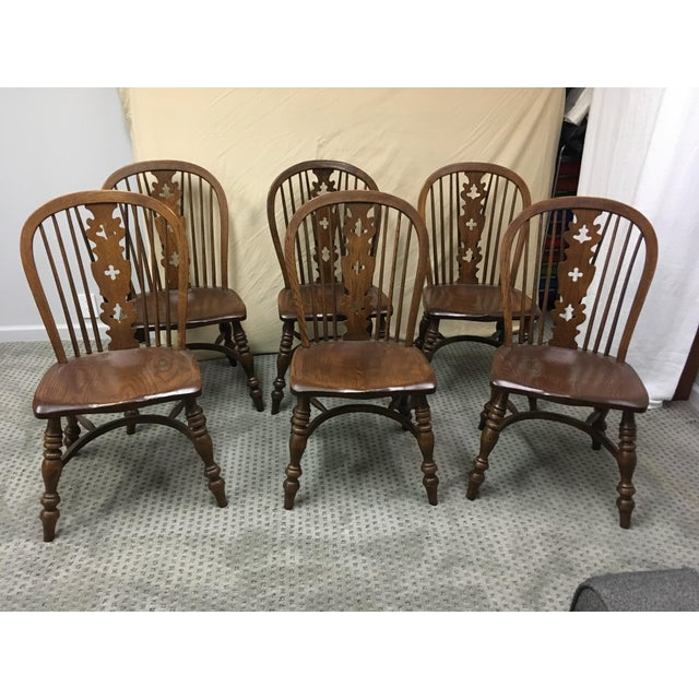 1970s 1970s Conant Ball Windsor Plank Oak Dining Chairs - Set of 6 For Sale - Image 5 of 5