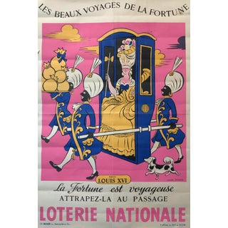 Lucien Boucher 1959 French Lottery Poster, Queen in a Carriage For Sale