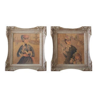 1950s Framed Young Women Lithographs - a Pair For Sale