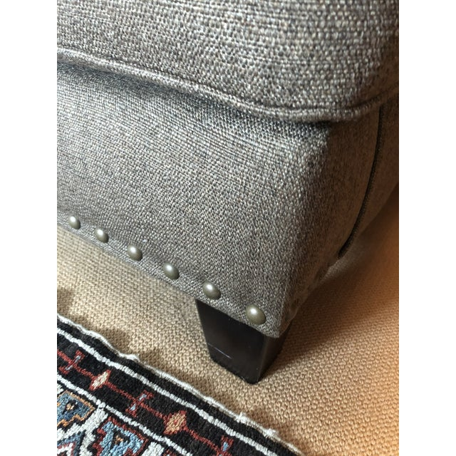 Upholstered Custom Loveseat Sofa With Large Brass Nailheads For Sale - Image 4 of 9