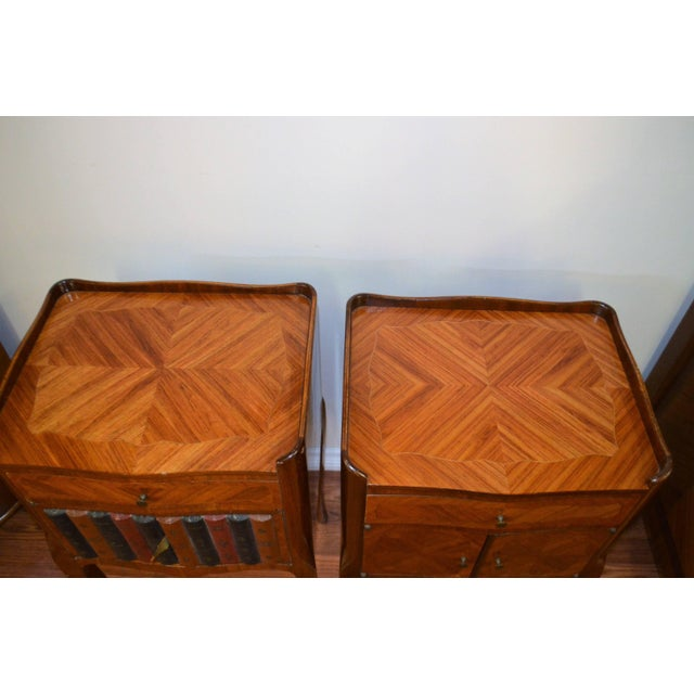 Brown Transitional Inlay Wood Side Tables - A Pair For Sale - Image 8 of 10
