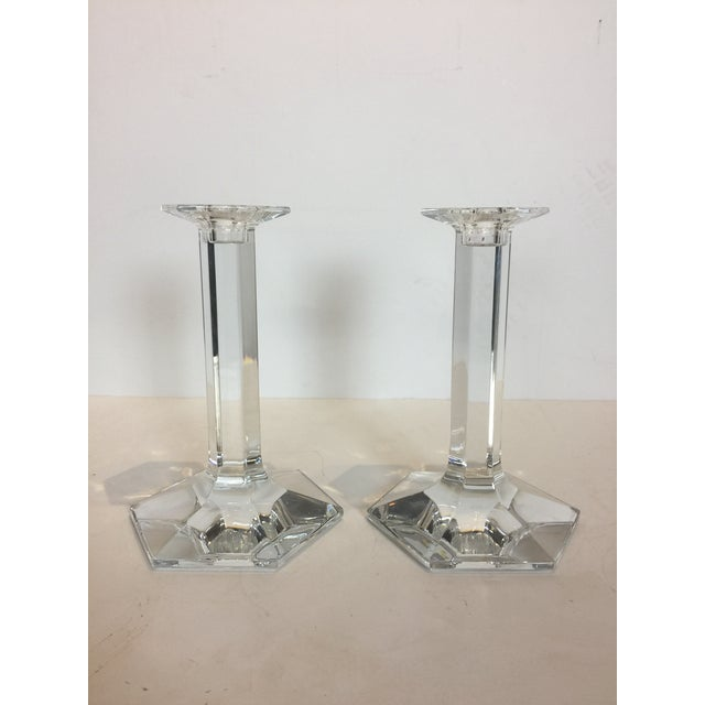 1990s Vintage Baccarat Clear Crystal Modern Hexagonal Base Candlesticks - a Pair For Sale - Image 5 of 8