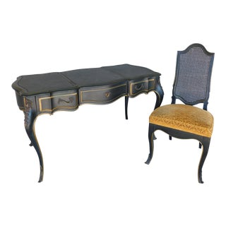 Drexel Et Cetera French Louis XV Style Writing Desk & Chair - a Pair For Sale