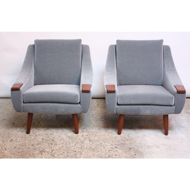 Pair of Danish Modern Teak and Mohair Lounge Chairs For Sale - Image 11 of 11