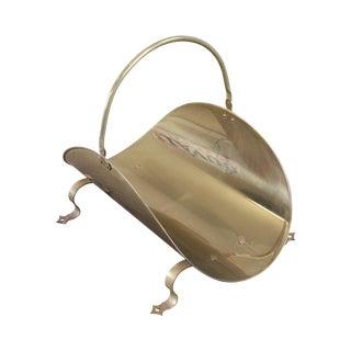 Quality Vintage Brass Log Holder For Sale