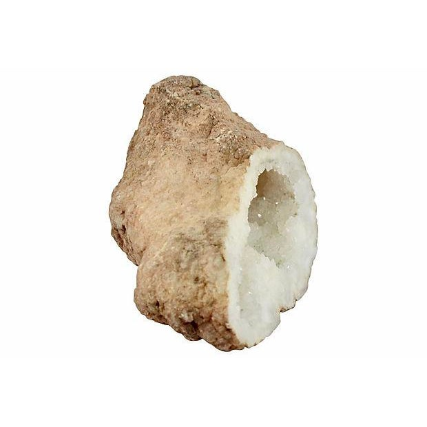 Large free standing elongated vintage geode with a brilliant fine well-formed sparkling clear and natural frosty white...