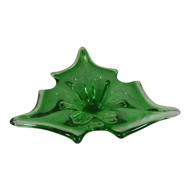 Transparent & Green Holly Leaf Murano Christmas Bowl For Sale