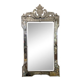 Antique Italian Venetian Etched Glass Mirror For Sale