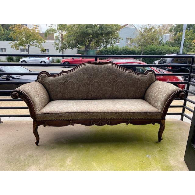 Early 19th C. French Walnut Settee With Guilt Accents For Sale - Image 12 of 13