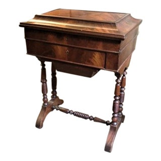 Antique Early Victorian Mahogany Sewing Table For Sale