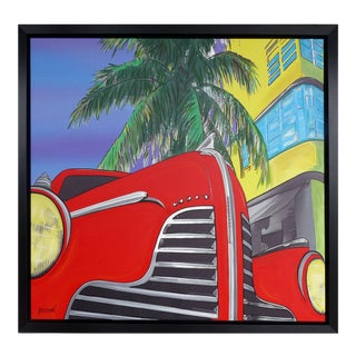 """Mixed-Media on Canvas Titled """"the Red Car"""" by Garmed Dated 2016 For Sale"""
