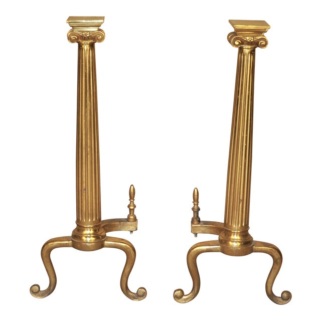 Neoclassical Brass Column Andirons - A Pair - Image 1 of 6