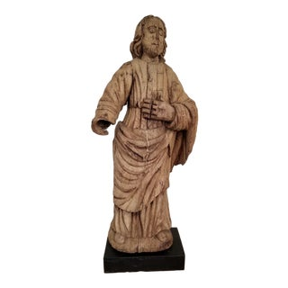 19th Century Wooden Jesus Statue With Stand For Sale