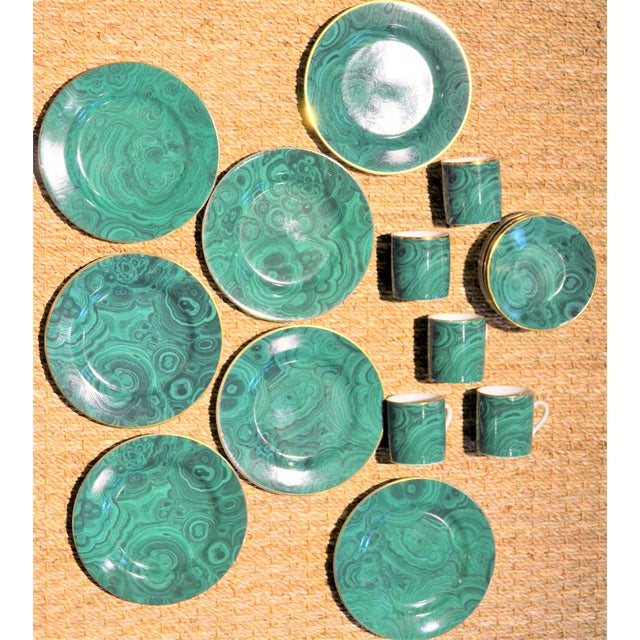 Neiman Marcus Malachite Dinnerware - Set of 19 For Sale In Houston - Image 6 of 10