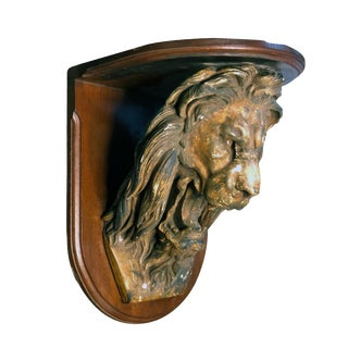 Antique Victorian Lion Head Wall Clock Shelf For Sale