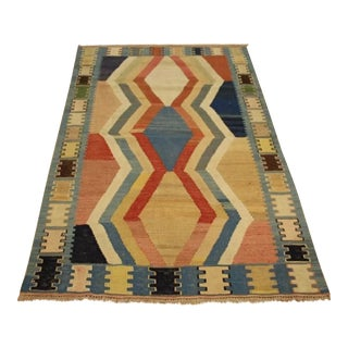 Colorful 1950s Vintage Kilim Flat-Woven Rug