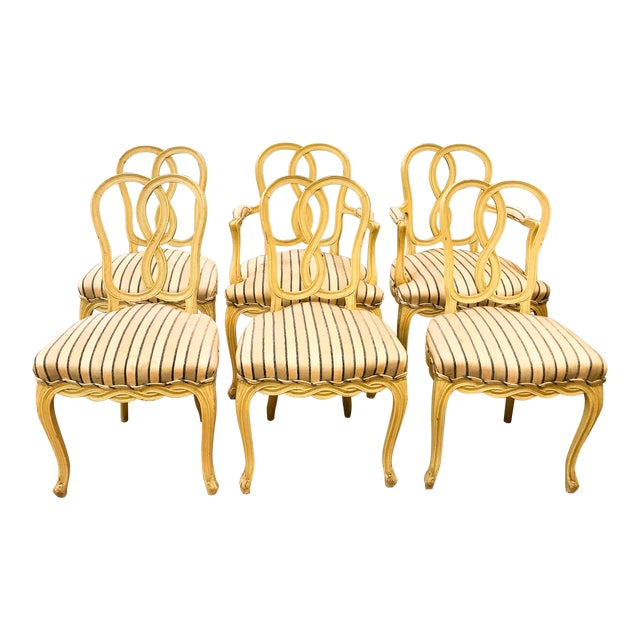 Set of 6 Mid Century Hollywood Regency Ribbon Back Dining Chairs - Image 1 of 12