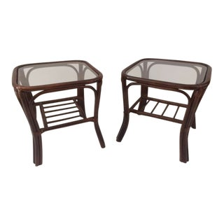 1980s Boho Chic Rattan Side Tables - a Pair For Sale