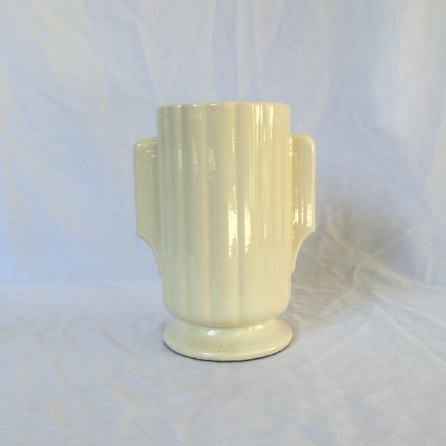 Art Deco Crackled Cream Ceramic Vase - Image 2 of 5