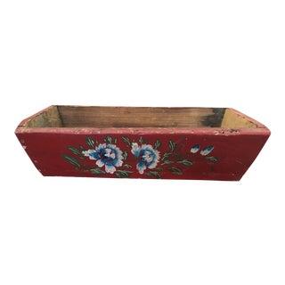 Vintage Rectangular Wood Red Planter For Sale