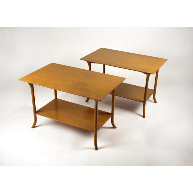 Brown t.h. Robsjohn Gibbings Bleached Mahogany Sabre Leg Side Tables for Widdicomb - A Pair For Sale - Image 8 of 9