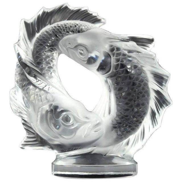 """Glass Lalique Clear Crystal Double Fish """"Deux Poissons"""" Sculpture For Sale - Image 7 of 7"""