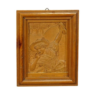 A Wooden Micro Carving Plaque by Johann Rint 1899 For Sale