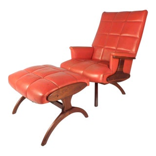 Vintage Modern Heywood Wakefield Style Lounge Chair and Ottoman