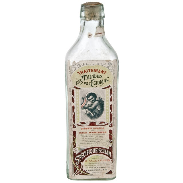 Vintage French Stomach Maladies Bottle For Sale