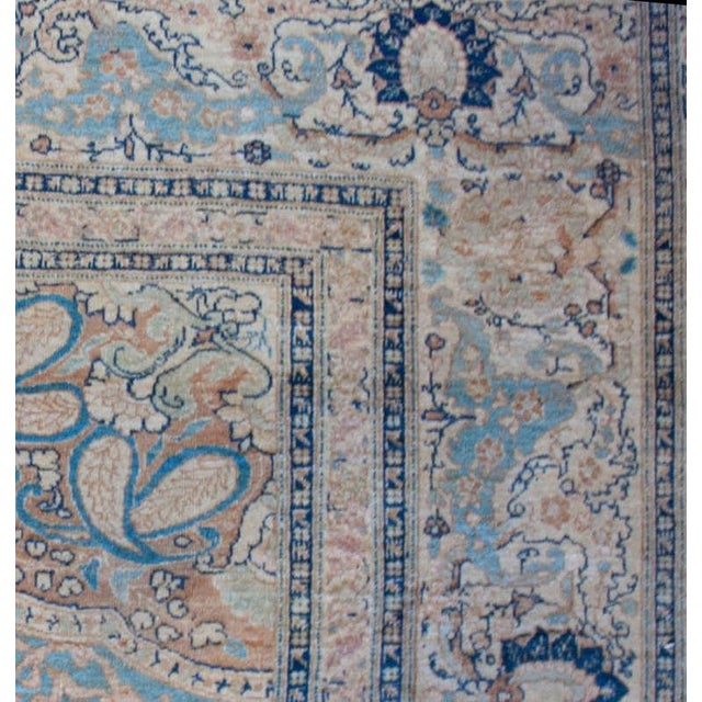 "Mid 19th Century 19th Century Persian Haji Jalili Tabriz Rug - 9'2"" x 13' For Sale - Image 5 of 5"