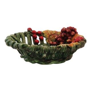 Vintage Ceramic Basket Motif Dish For Sale