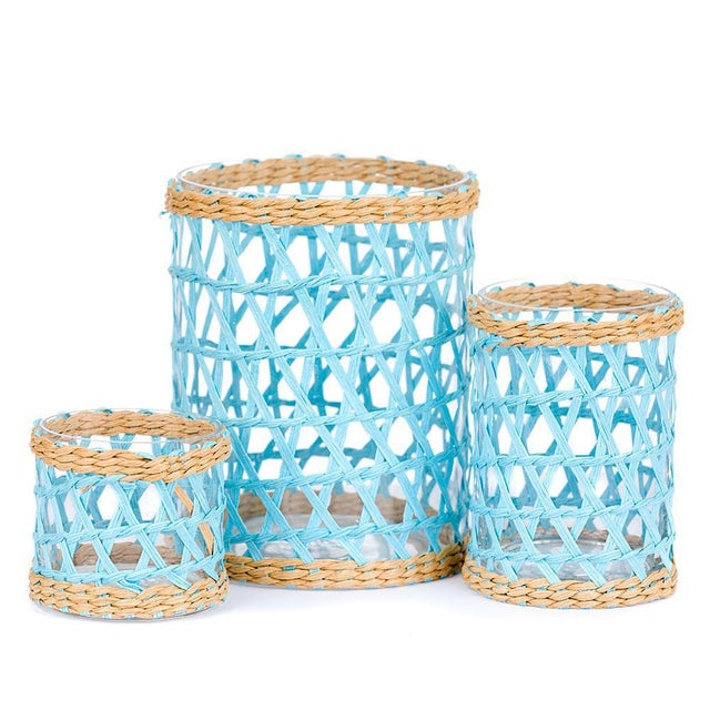 Light Blue Island Wrapped Hurricanes - Set of 3 For Sale In West Palm - Image 6 of 6