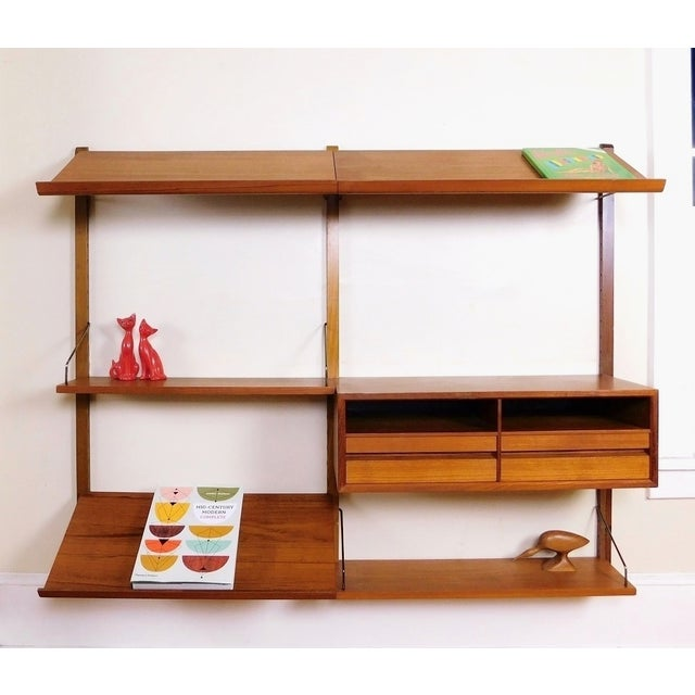 Mid Century Modern Danish Teak & Brass Floating Desk Wall Unit Bookcase/Magazine Rack (Chair and accessories are not...