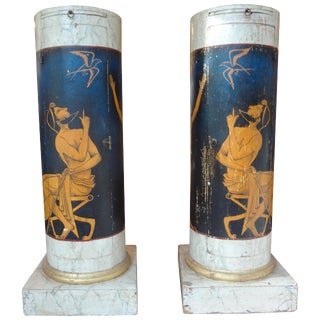 Antique Italian Neoclassical Style Painted Column Pedestal Cabinets - a Pair For Sale