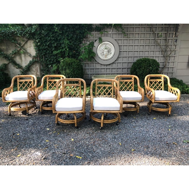 Mid-Century Franco Albini Style Rattan Swivel Dining Chairs - Set of 6 For Sale - Image 11 of 12
