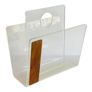 1970s Lucite & Wood Magazine Rack For Sale